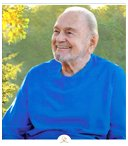 Swami Kriyananda wearing blue robes